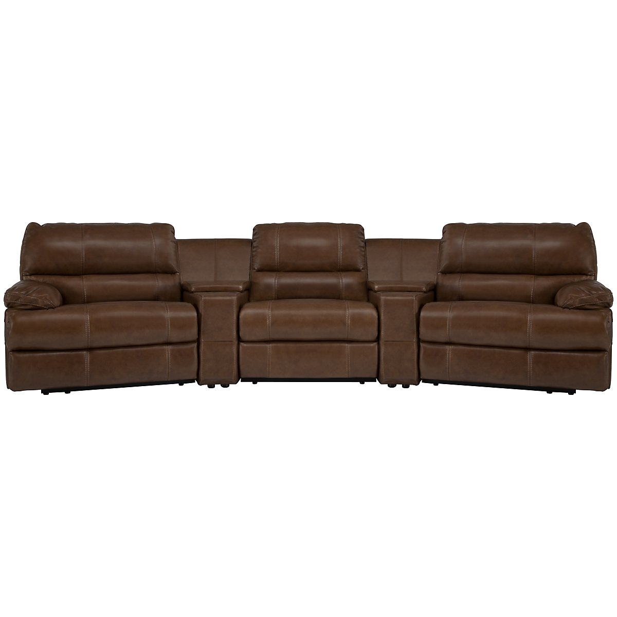 Alton2 Md Brown Leather & Vinyl Large Power Reclining Home Theater Sectional