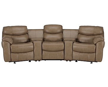 Derek Dark Taupe Leather & Vinyl Small Manually Reclining Home Theater Sectional