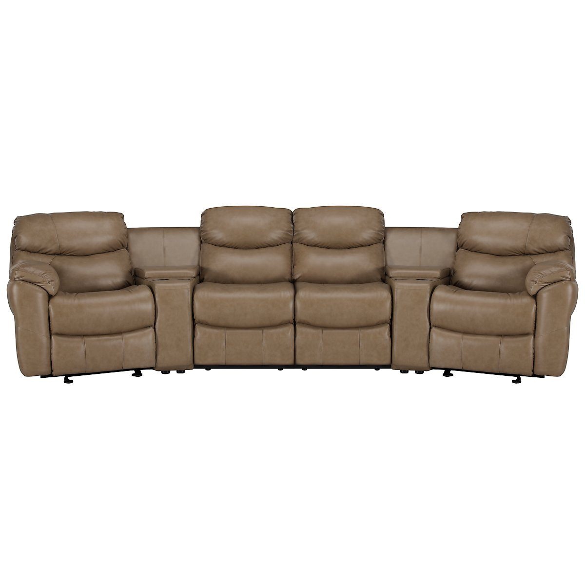 Derek Dark Taupe Leather & Vinyl Large Manually Reclining Home Theater Sectional