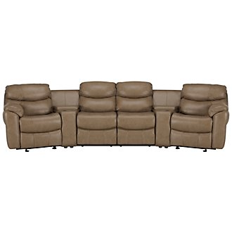 Derek Dark Taupe Leather & Vinyl Large Power Reclining Home Theater Sectional