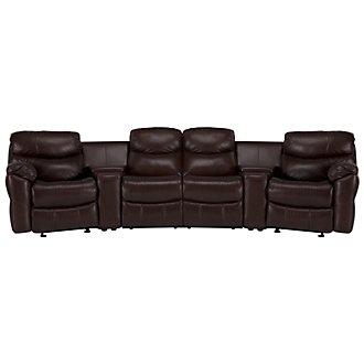 Derek Dark Brown Leather & Vinyl Large Manually Reclining Home Theater Sectional