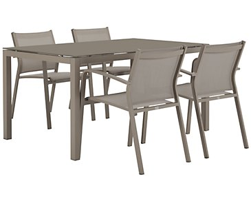 "Lisbon Khaki 60"" Rectangular Table & 4 Chairs"