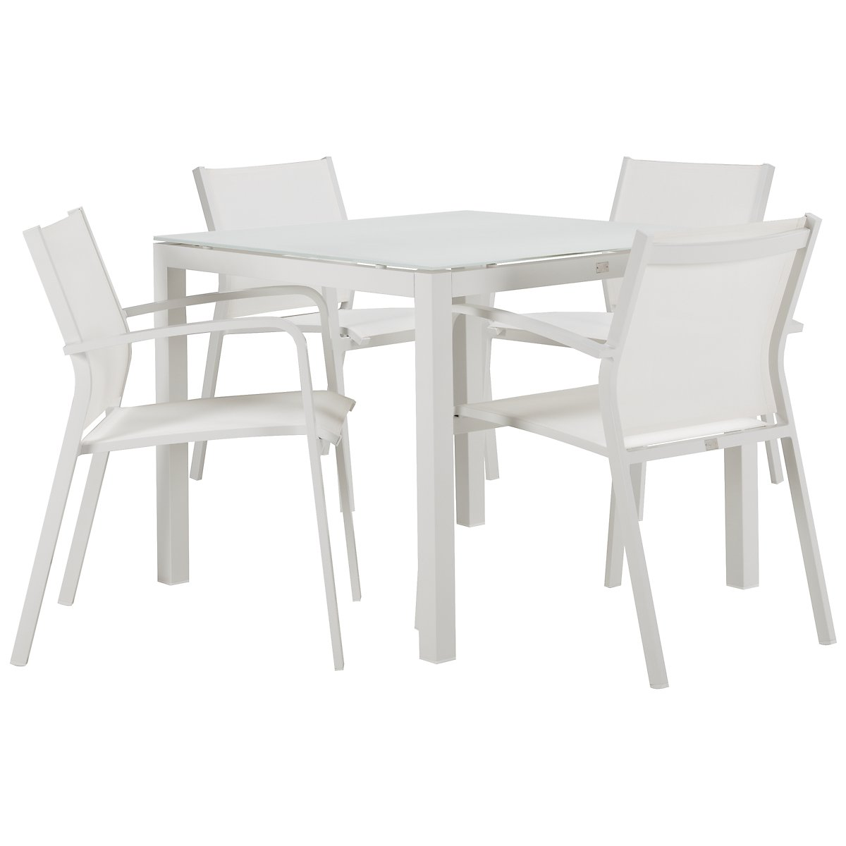 "Lisbon White 36"" Square Table & 4 Chairs"