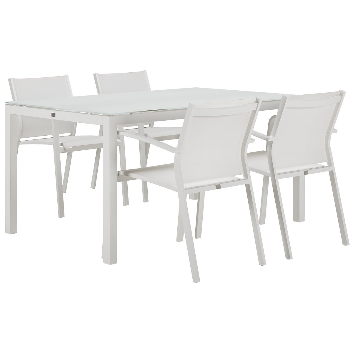 "Lisbon White 60"" Rectangular Table & 4 Chairs"