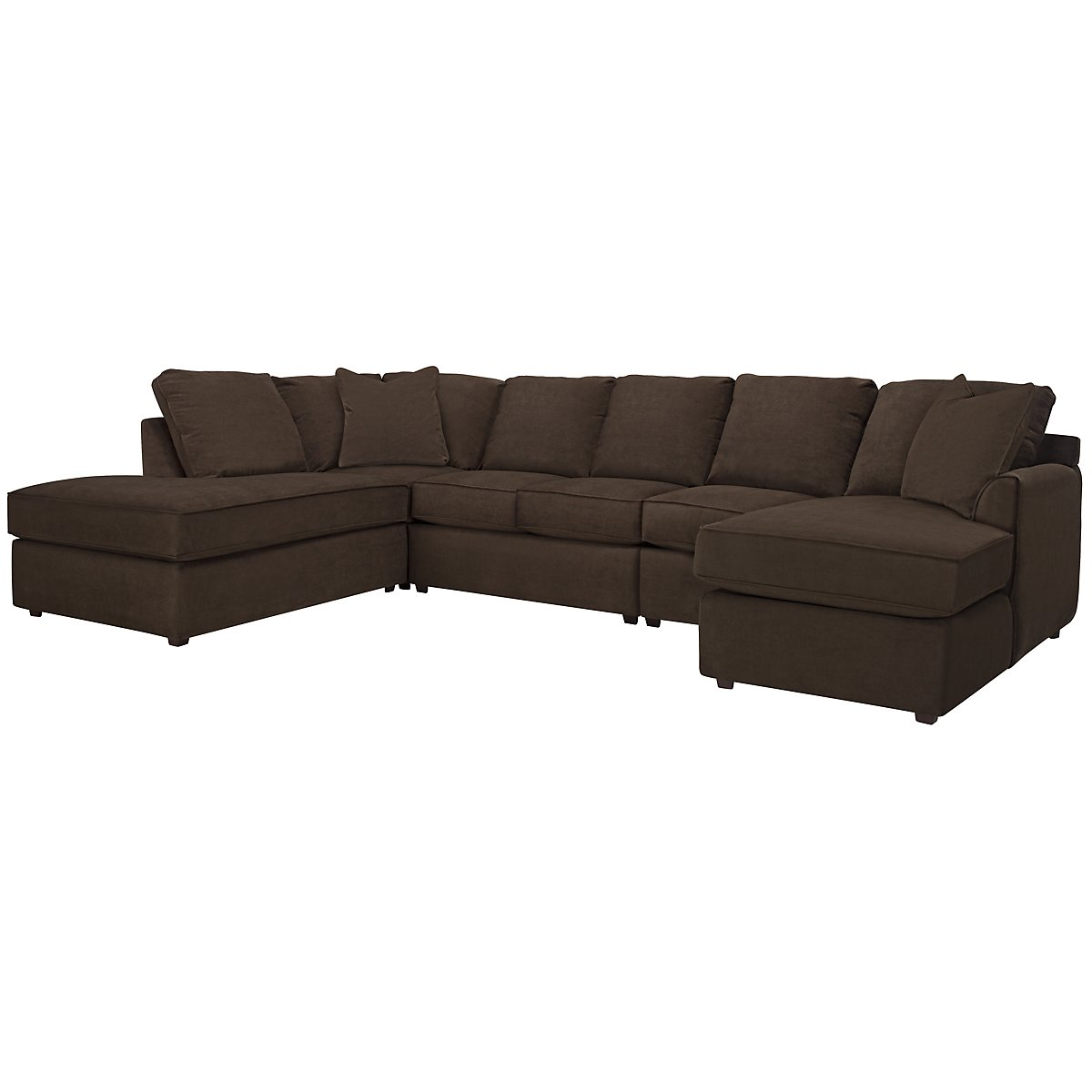 Express3 Dk Brown Microfiber Large Left Bumper Sectional