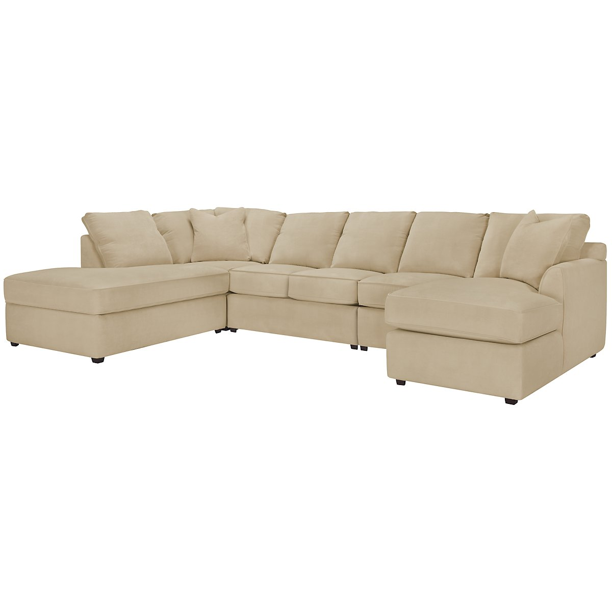 Express3 Light Beige Microfiber Large Left Bumper Sectional