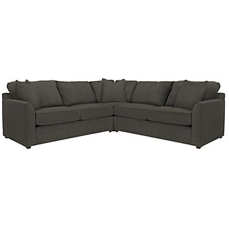 Express3 Dk Gray Microfiber Small Two-Arm Sectional