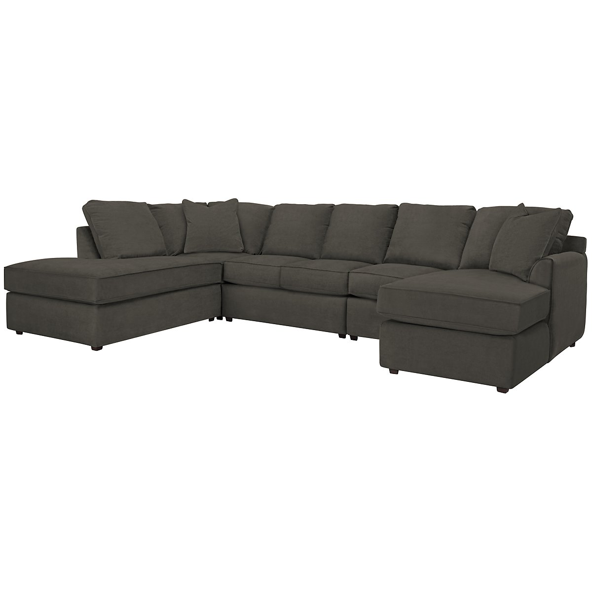 Express3 Dark Gray Microfiber Large Left Bumper Sectional