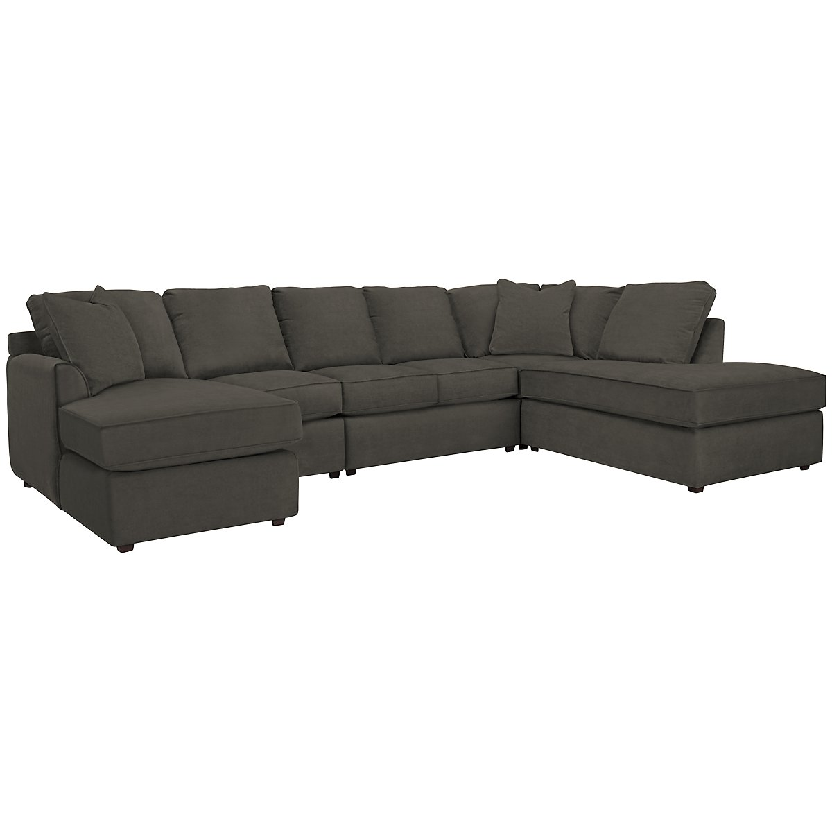 Express3 Dark Gray Microfiber Large Right Bumper Sectional