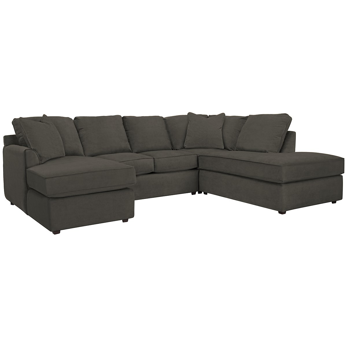 Express3 Dark Gray Microfiber Small Right Bumper Sectional
