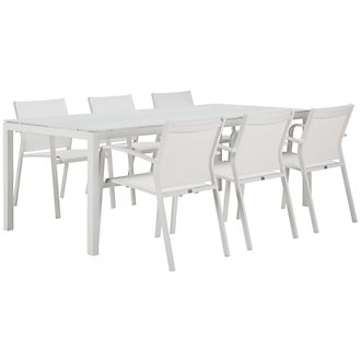 "Lisbon White 86"" Rectangular Table & 4 Chairs"