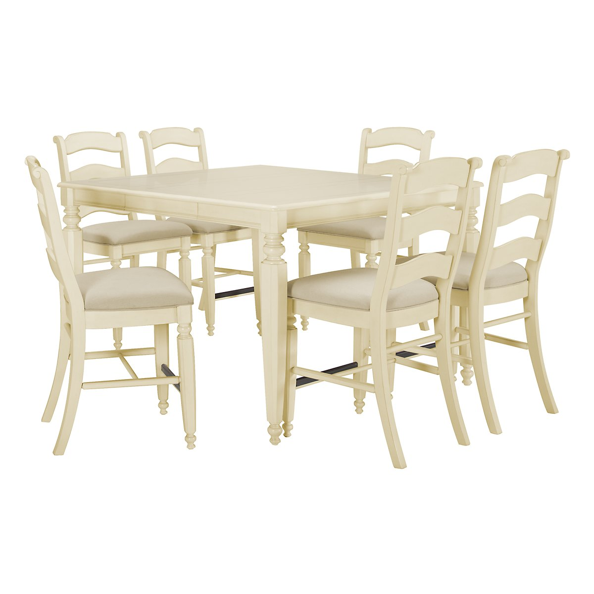 Claire White High Table & 4 Wood Barstools