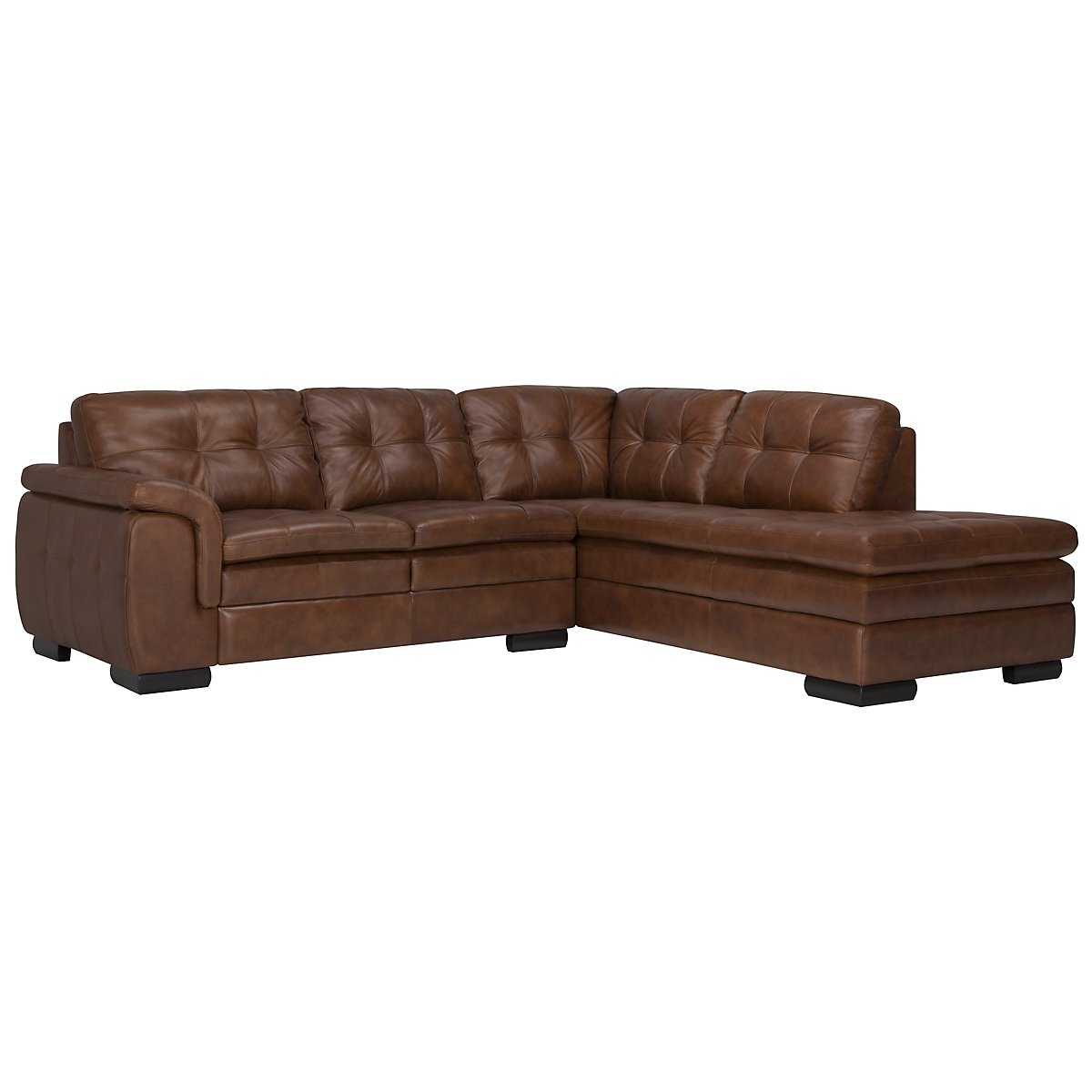 Trevor Md Brown Leather Small Right Bumper Sectional