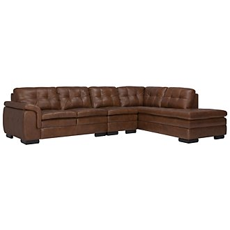 Trevor Md Brown Leather Large Right Bumper Sectional