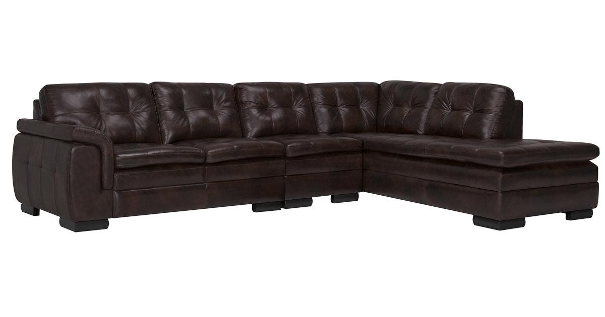 City Furniture Trevor Dk Brown Leather Large Right Bumper