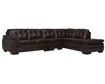 Trevor Dark Brown Leather Large Right Bumper Sectional