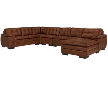 Trevor Medium Brown Leather Large Right Chaise Sectional