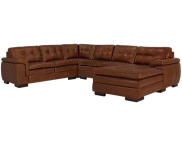 Trevor Medium Brown Leather Small Right Chaise Sectional