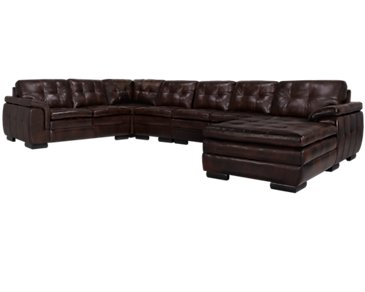 Trevor Dark Brown Leather Large Right Chaise Sectional