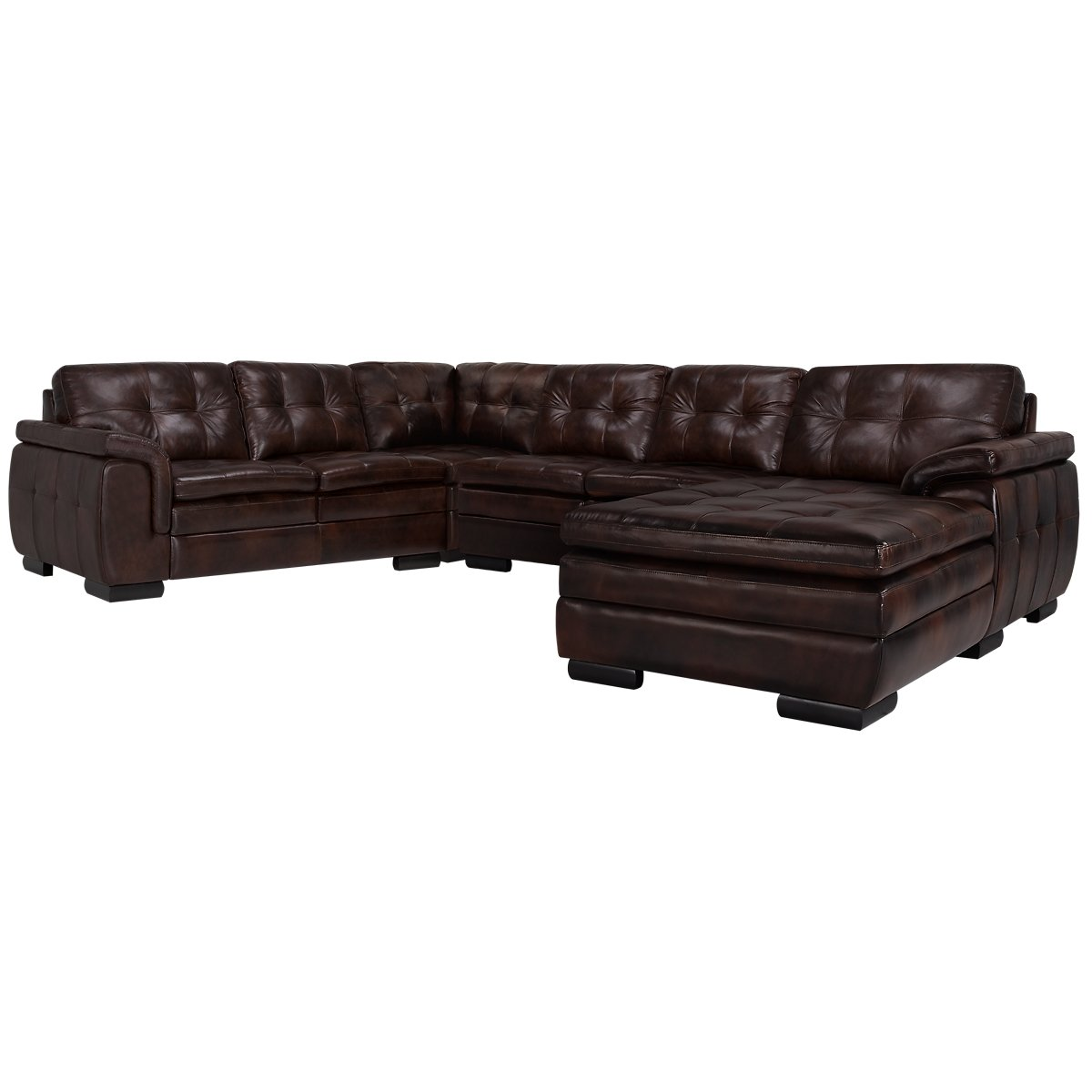 City furniture trevor dark brown leather small right for Brown leather chaise sofa