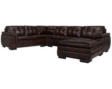 Trevor Dark Brown Leather Small Right Chaise Sectional