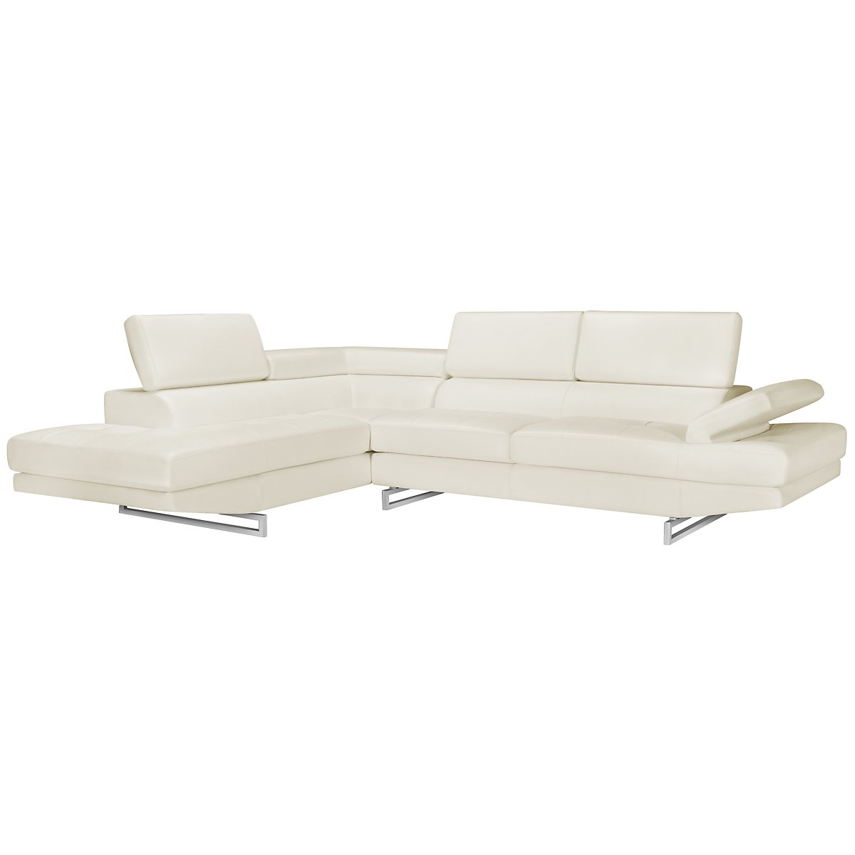 Athena White Bonded Leather Left Bumper Sectional