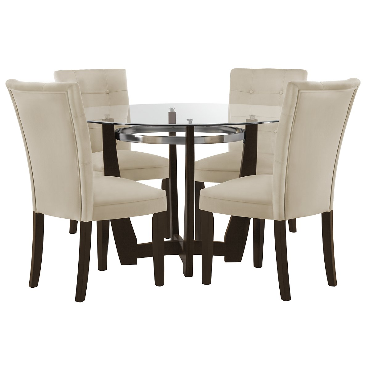 Matinee Dark Tone Round Table 4 Upholstered Chairs