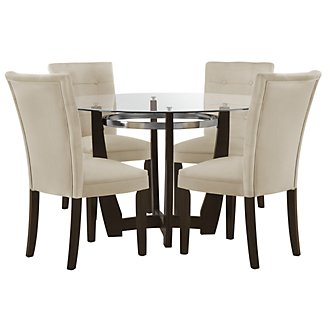 Matinee Dark Tone Round Table & 4 Upholstered Chairs