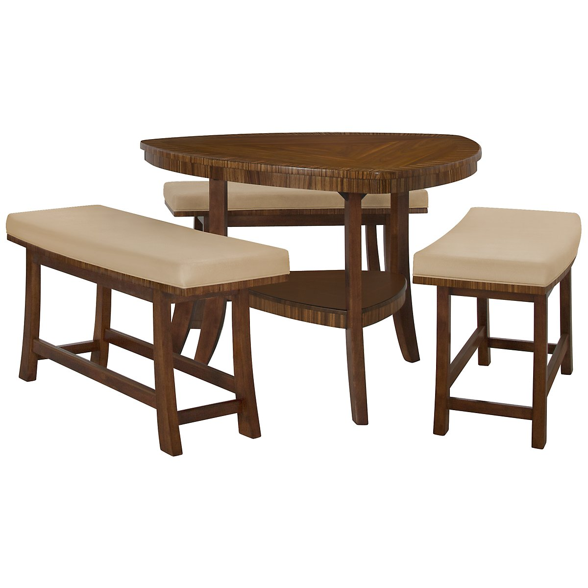 Milan Mid Tone Triangular High Table & 3 Benches