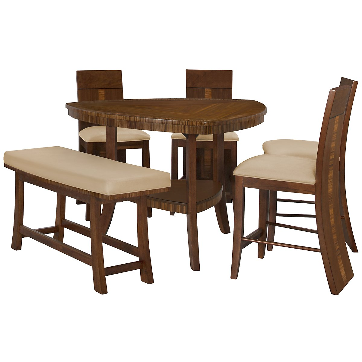 Milan Mid Tone Triangular High Table, 4 Barstools & High Bench