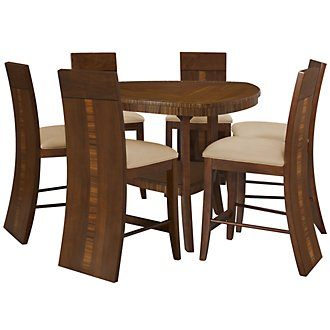 Milan Mid Tone Triangular High Table & 4 Wood Barstools