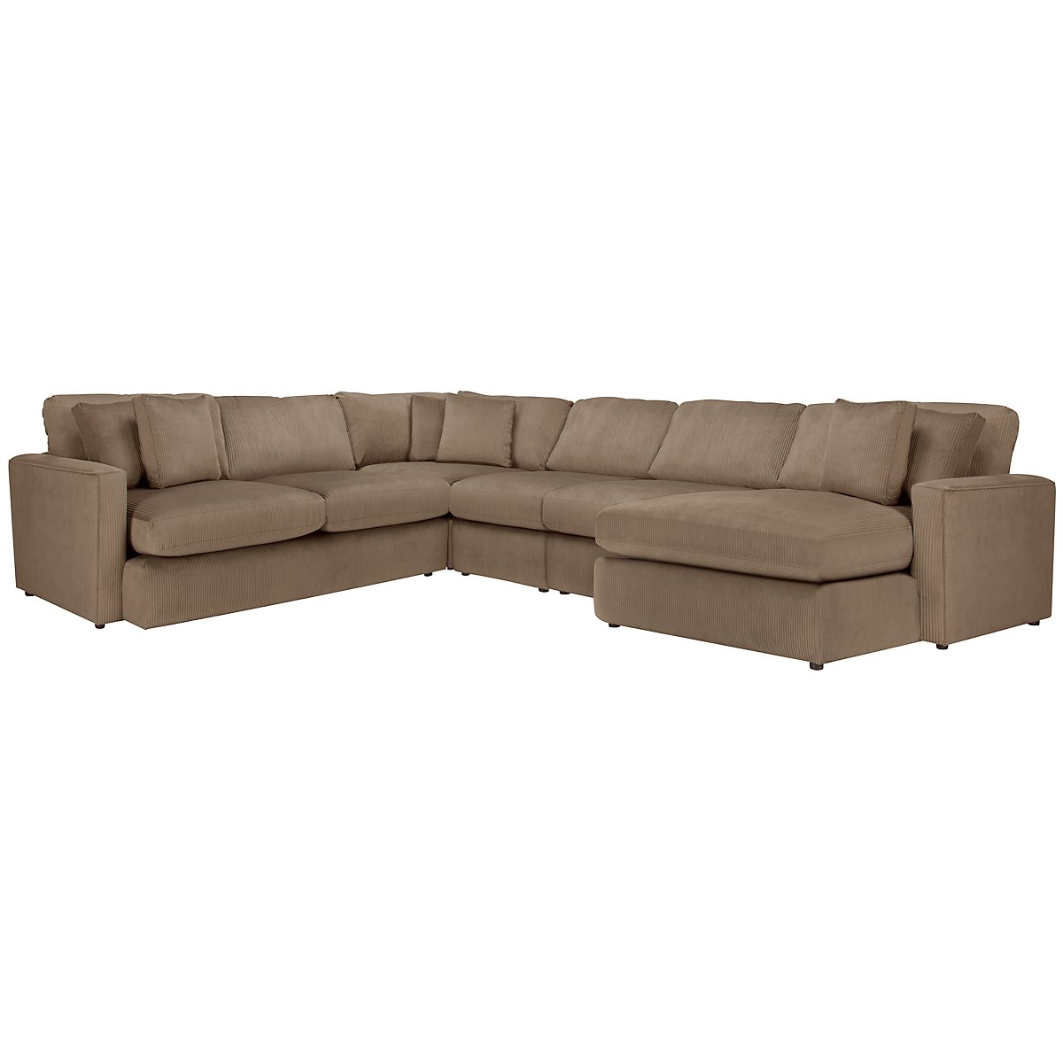 Tara2 Dark Taupe Microfiber Right Chaise Sectional