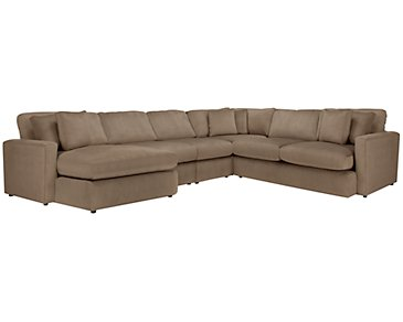 Tara2 Dark Taupe Microfiber Left Chaise Sectional