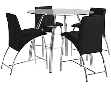 Mensa Black Round High Table & 4 Upholstered Barstools