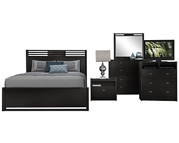 Gianna Dark Tone Panel Bedroom Package