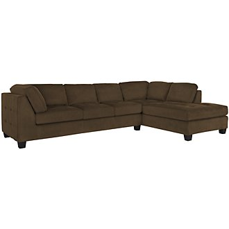 Mercer2 Dk Brown Microfiber Right Chaise Sectional
