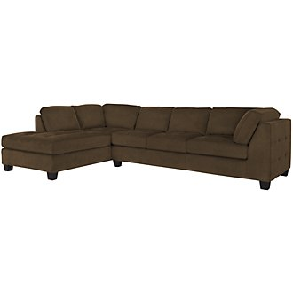 Mercer2 Dk Brown Microfiber Left Chaise Sectional