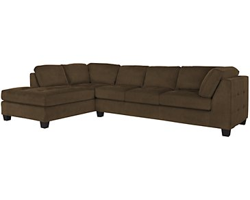Mercer2 Dark Brown Microfiber Left Chaise Sectional