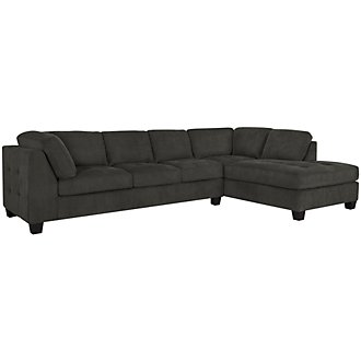 Mercer2 Dk Gray Microfiber Right Chaise Sectional