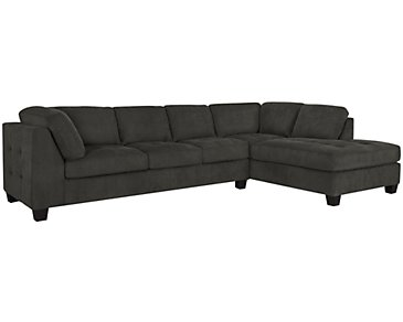 Mercer2 Dark Gray Microfiber Right Chaise Sectional