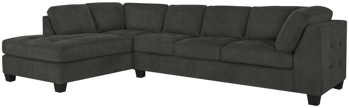 City Furniture Mercer2 Dk Gray Microfiber Left Chaise Sectional
