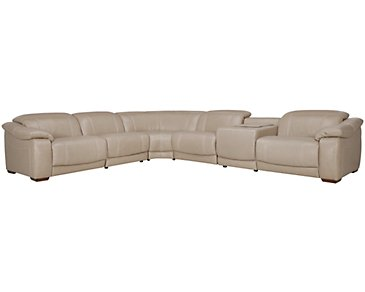 Orion Light Taupe Leather & Bonded Leather Large 2-Arm Manually Reclining Media Sectional