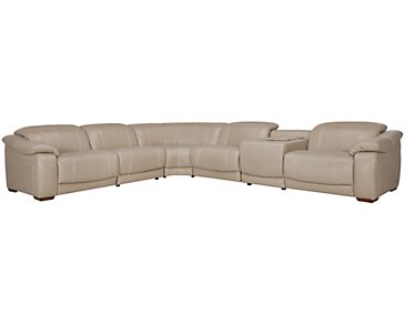 Orion Light Taupe Leather & Bonded Leather Large 2-Arm Power Reclining Media Sectional