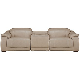 Orion Lt Taupe Leather & Bonded Leather Media Reclining Sofa