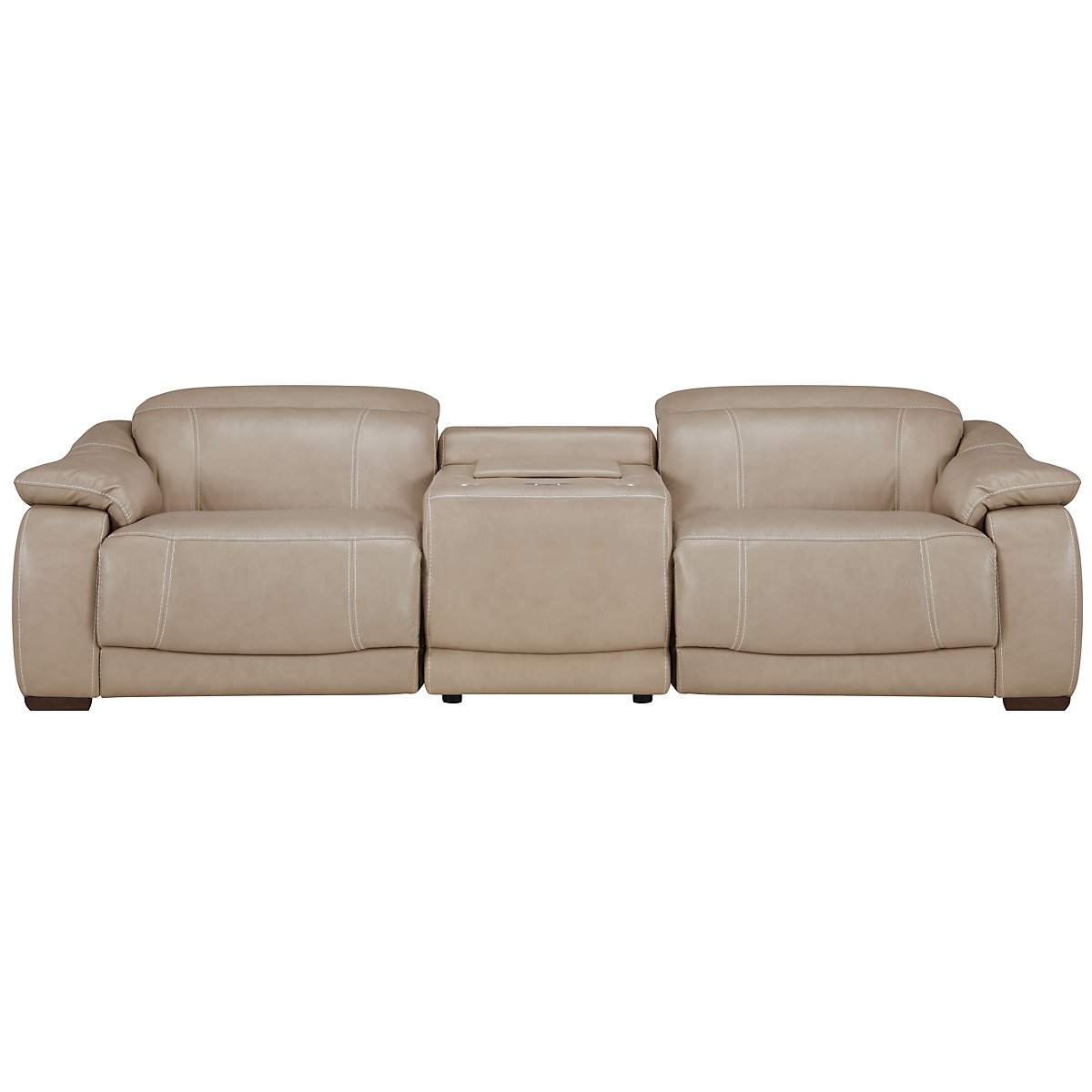 Orion Lt Taupe Leather & Bonded Leather Media Power Reclining Sofa