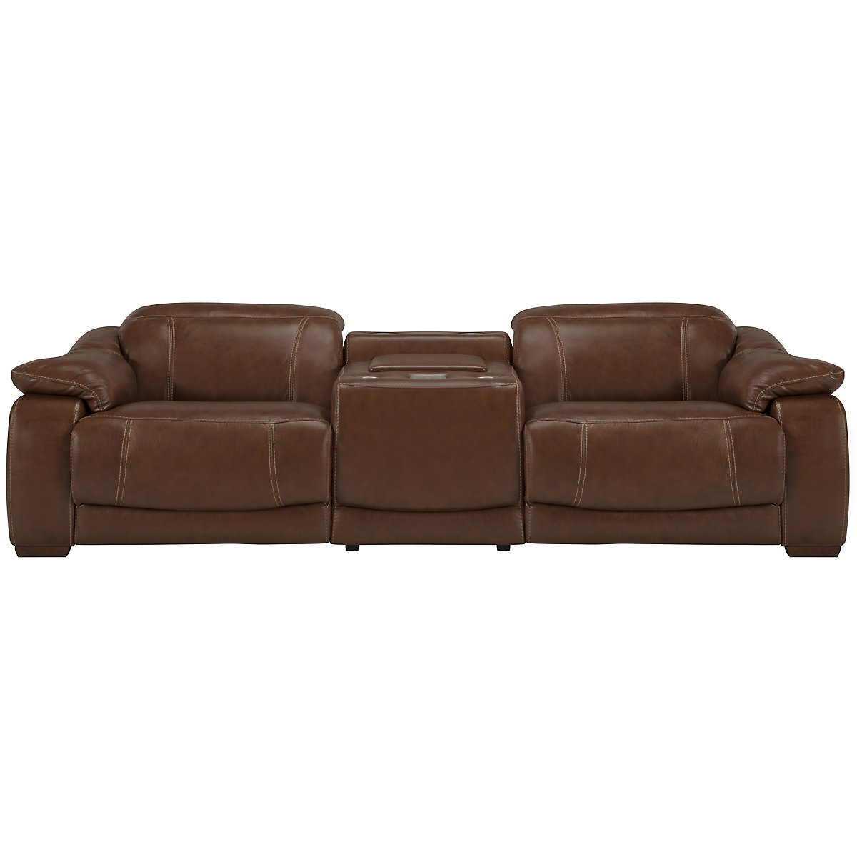 Orion Md Brown Leather & Bonded Leather Media Reclining Sofa