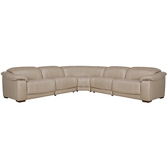 Orion Light Taupe Leather & Bonded Leather Small Two-Arm Manually Reclining Sectional