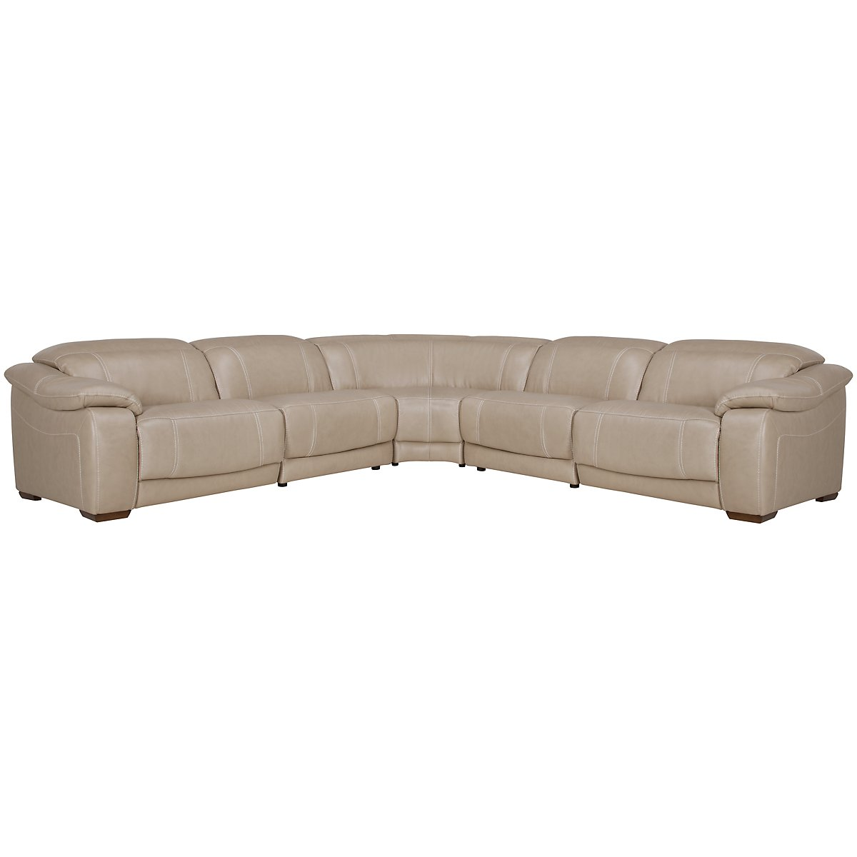 Orion Light Taupe Leather & Bonded Leather Small Two-Arm Power Reclining Sectional