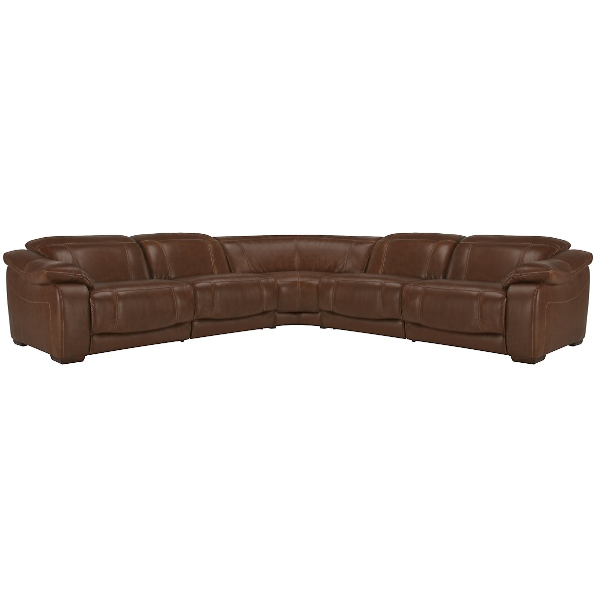 Orion Md Brown Leather & Bonded Leather Small Two-Arm Manually Reclining Sectional