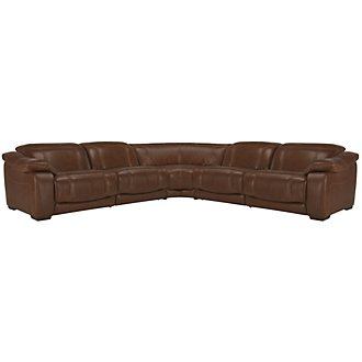 Orion Medium Brown Leather & Bonded Leather Small Two-Arm Manually Reclining Sectional